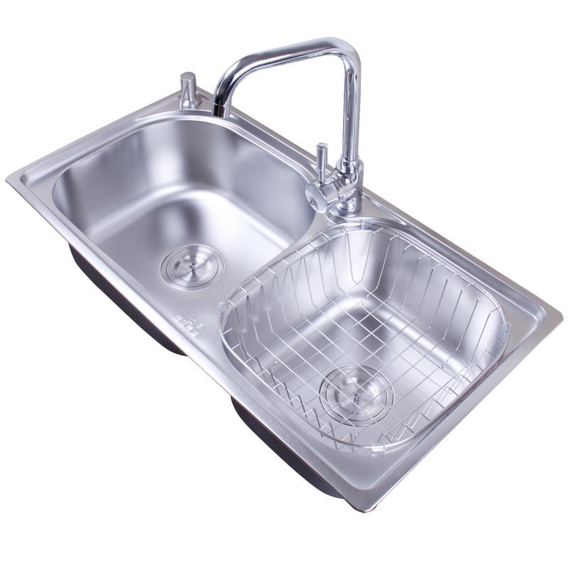 樱花美迪 不锈钢色201不锈钢拉丝双槽YH-900水槽 水槽