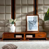 纯实木地柜框架结构榆木移动抽象图案现代中式 视听柜