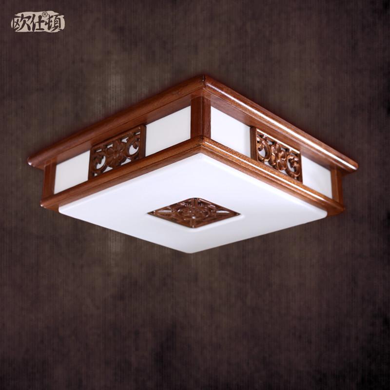 欧仕顿 pmma高透光率灯罩木现代中式镂空雕花正方形节能灯led 501吸顶