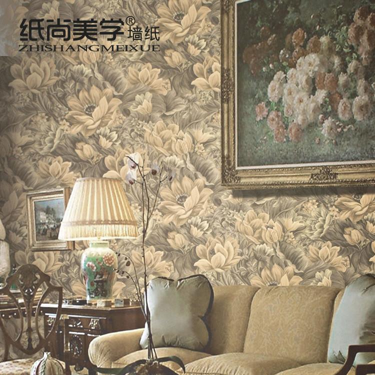 纸尚美学 A10705浅褐色压花有图案大花客厅欧式 墙纸