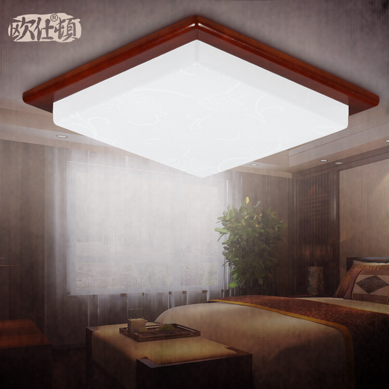 欧仕顿 PMMA高透光率灯罩木现代中式镂空雕花正方形节能灯LED 7216/小吸顶灯