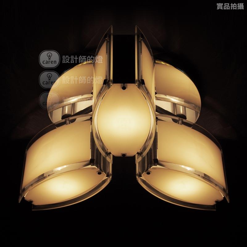 设计师的灯 月夜三灯吸顶灯玻璃铁简约现代电镀白炽灯节能灯LED 吸顶灯