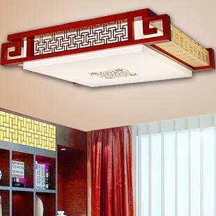 雄立 PVC木现代中式雕刻长方形荧光灯LED 吸顶灯