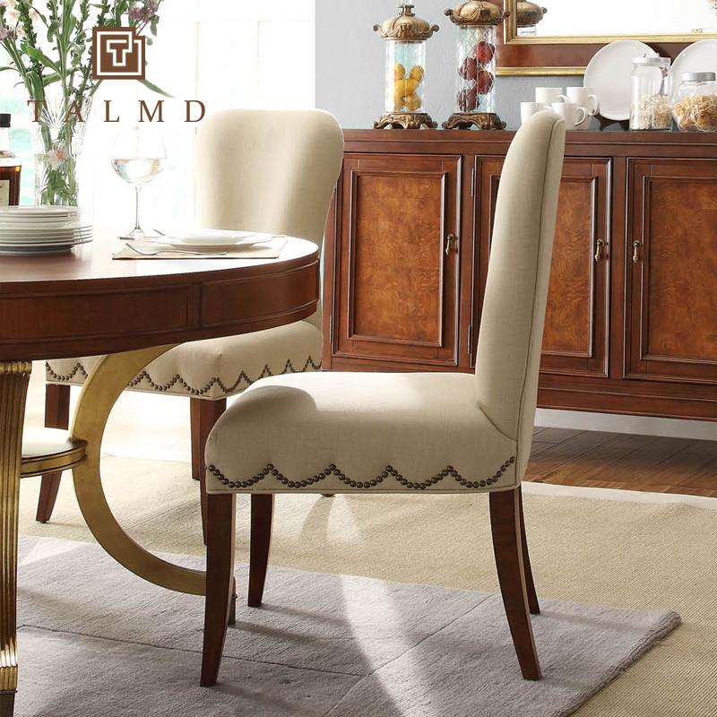 图迈 高端定制纯色布桦木多功能成人美式乡村 219-21餐椅