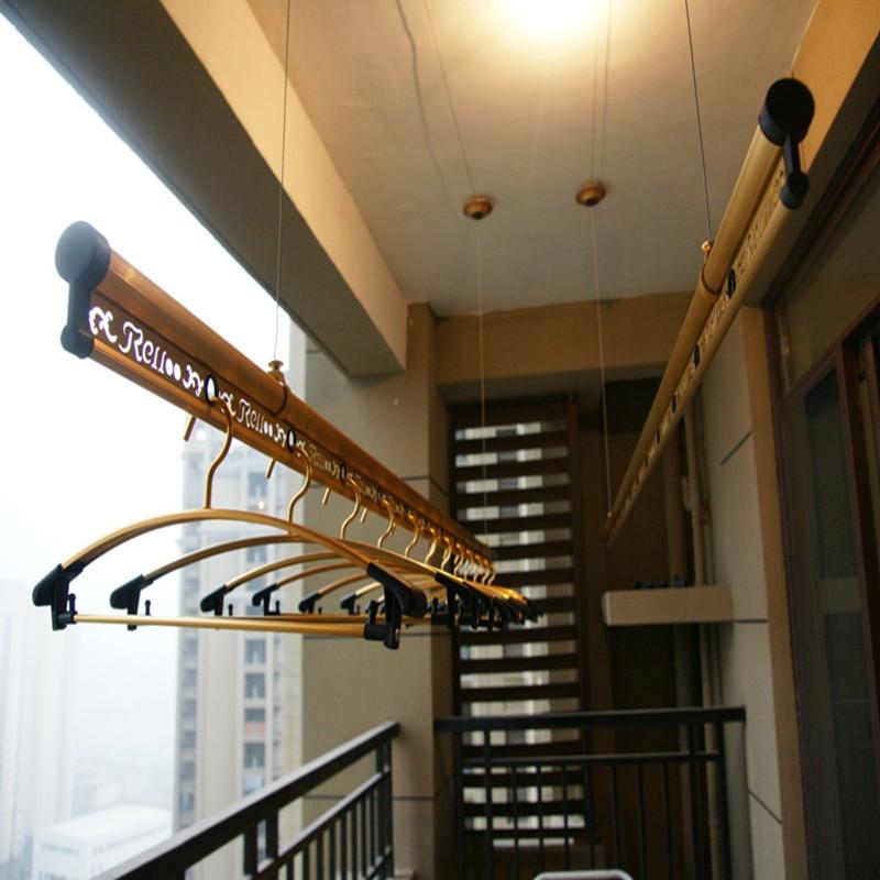 衣乐 阳台升降式铝双杆式 双色雕花系列805晾衣架图片