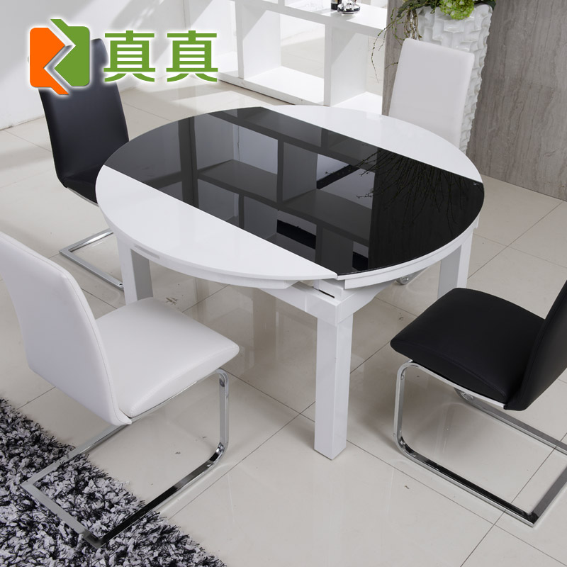 真真 组装玻璃框架结构圆形简约现代 餐桌