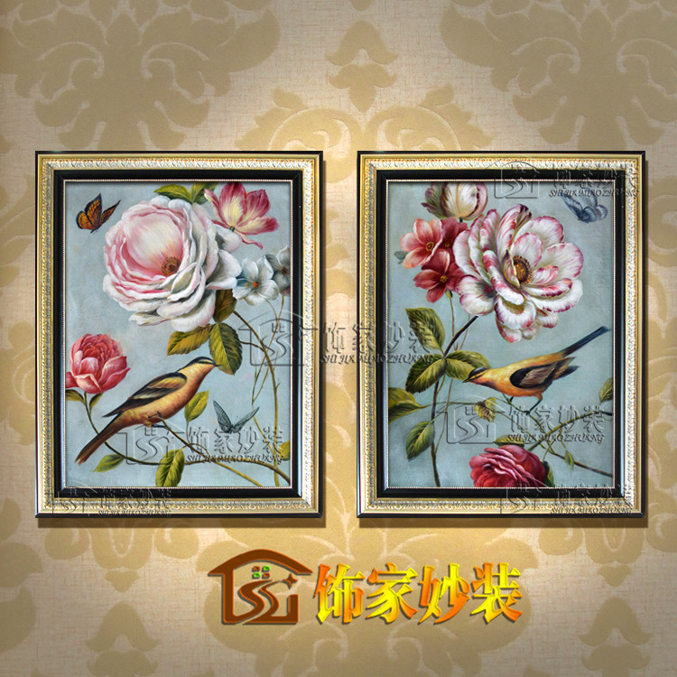 饰家妙装 平面手绘油画有框组合植物花卉 油画