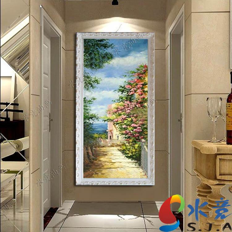 水竞 立体有框高档手绘画风景 油画
