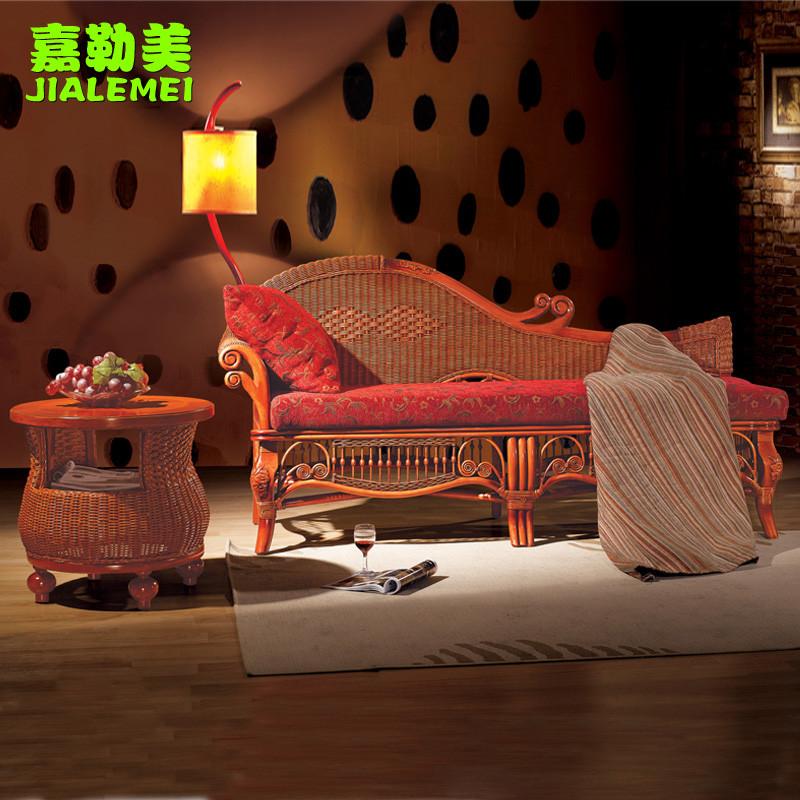 嘉勒美 茶几贵妃椅弧形植物藤竹藤工艺多功能抽象图案