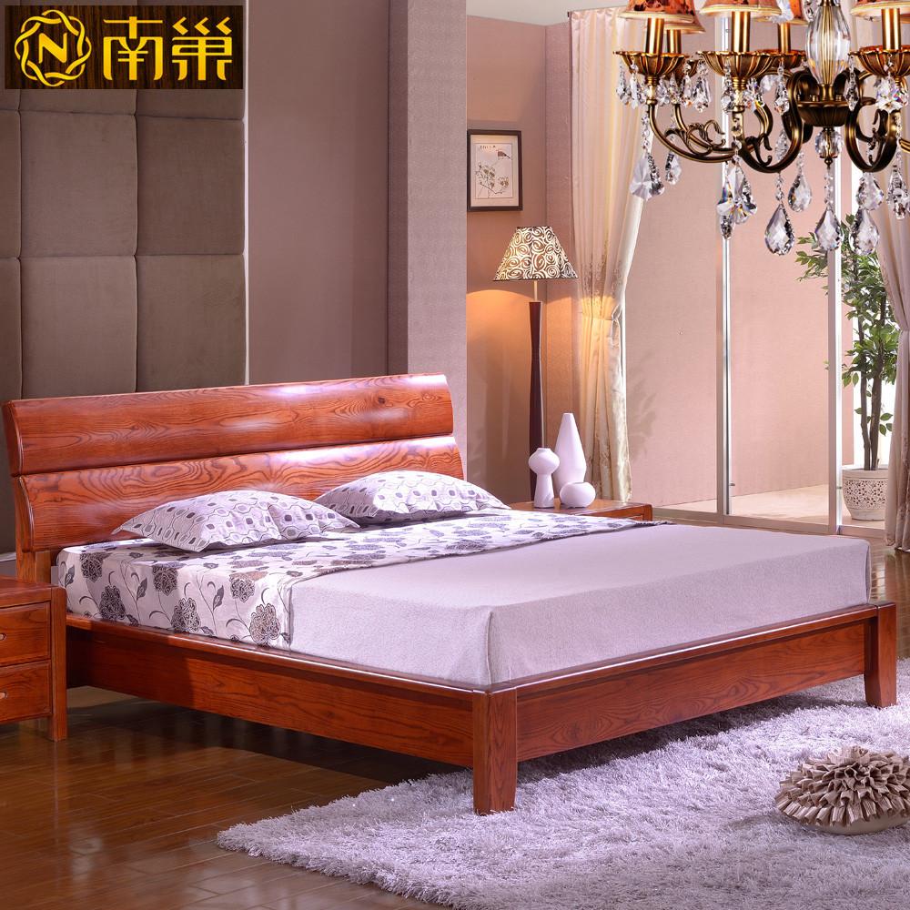 南巢100%纯实木床榆木支架结构现代中式雕刻 床
