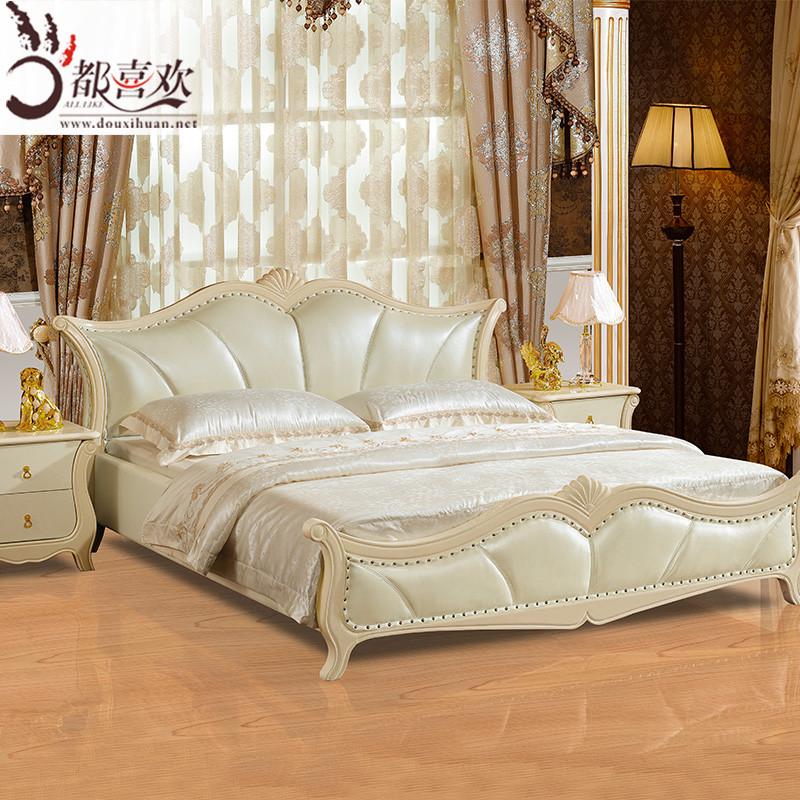 橡木组装式架子床欧式雕刻