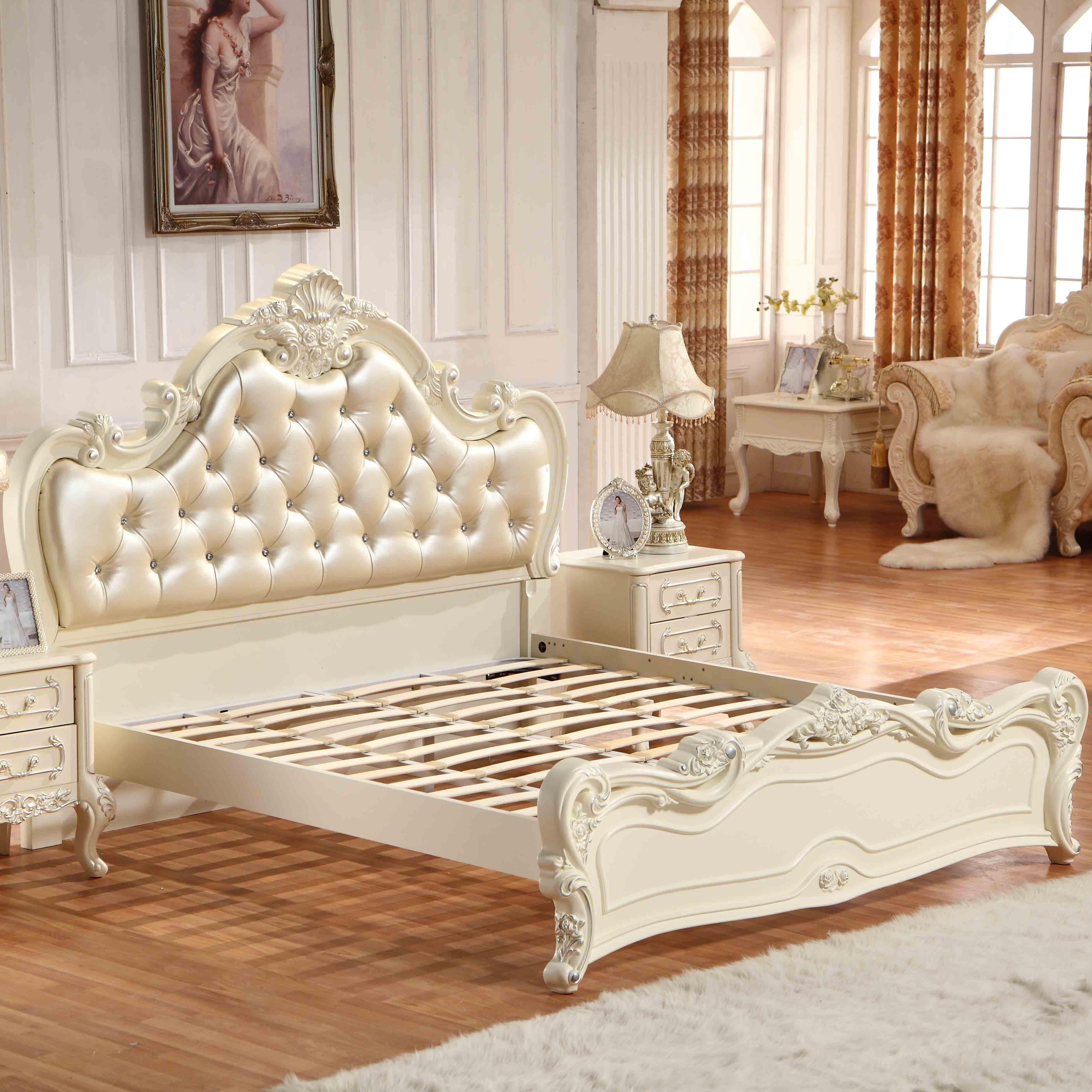 槿慕轩 橡木框架结构欧式雕刻 床