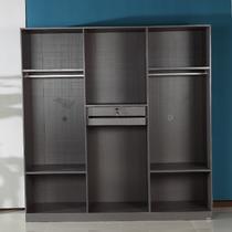 六门衣柜人造板镜面密度板/纤维板PVC多功能平拉门成人简约现代 衣柜