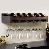 纯白色黑胡桃木色木质工艺支架结构抽象图案欧式 酒架
