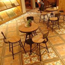 铁艺支架结构拆装抽象图案田园 咖啡桌
