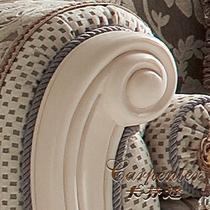 绣花布艺臻品沙发U形加线面料工艺雕刻桦木拆装棉海绵植物花卉欧式 沙发