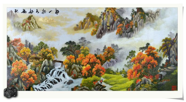 古吴女红 艺术品装饰简约现代 山水刺绣