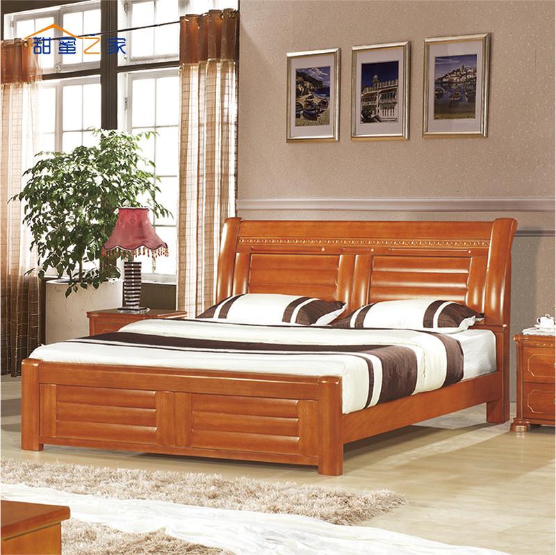 甜蜜之家 实木sh-8302床海棠木框架结构现代中式 床