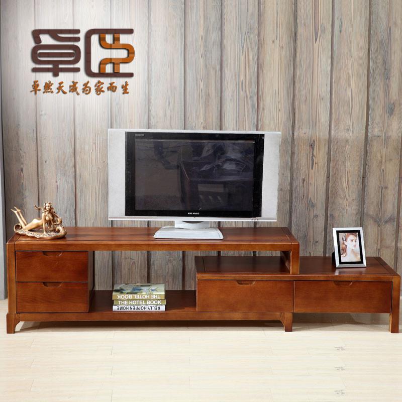卓臣 咖啡色烤漆框架结构白蜡木伸缩成人现代中式 电视柜