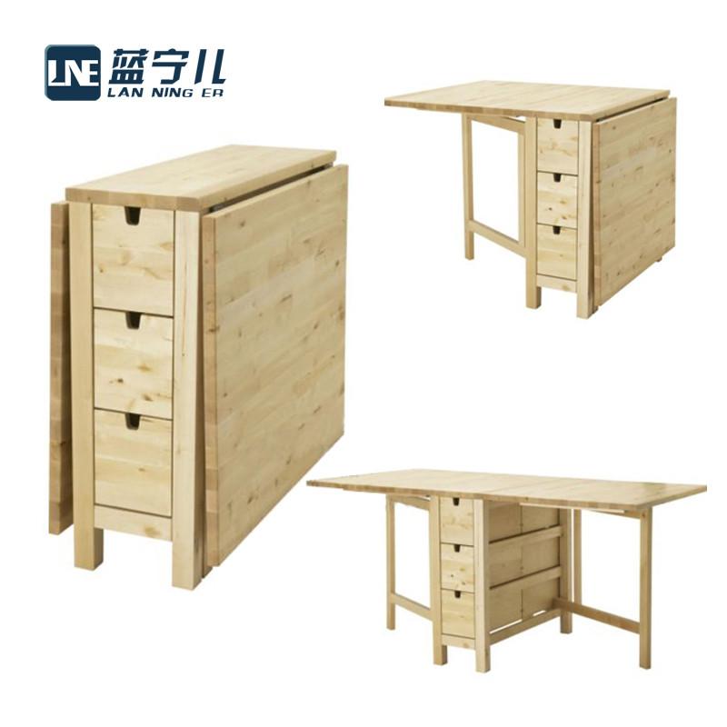 蓝宁儿 组装支架结构桦木风景长方形北欧/宜家 餐桌