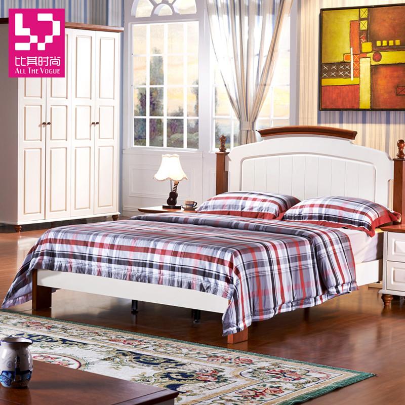 楸木色+珍珠白组装式架子床美式乡村拼板