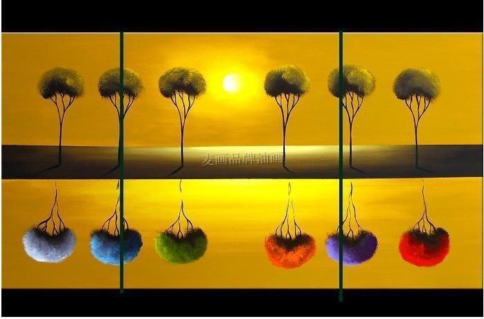 麦画 抽象画平面无框组合植物花卉手绘 油画