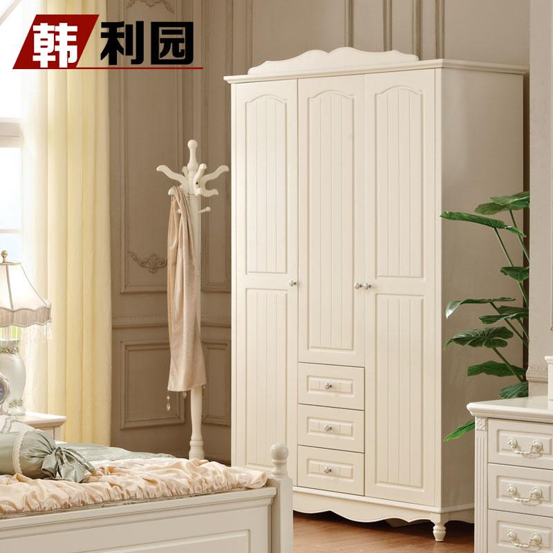 韩利园 象牙白色手绘实木皮饰面橡胶木储藏平拉门风景