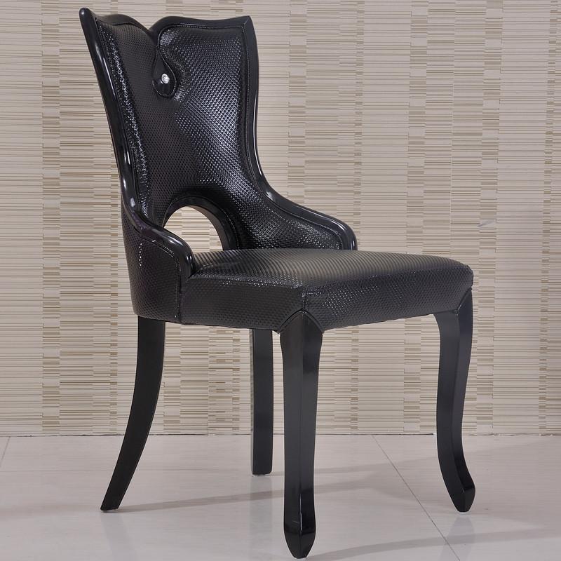 吉祥树 黑色实木皮饰面橡胶木成人欧式 餐椅