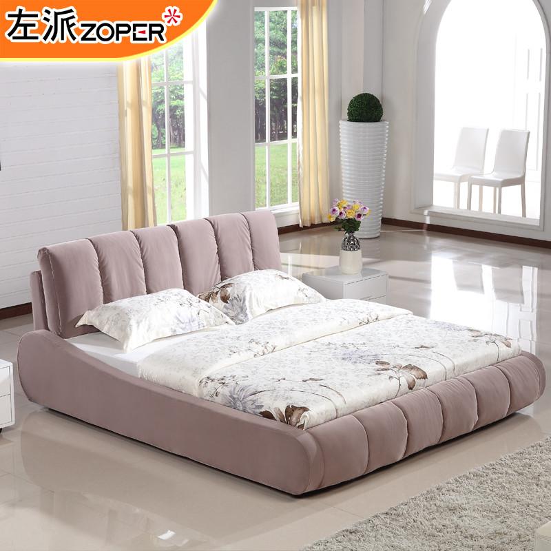 样板色现货木植绒组装式架子床绒质方形简约