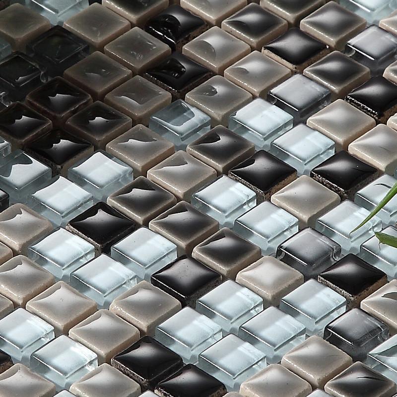 紫精灵马赛克黑白灰玻璃内墙简约现代瓷砖