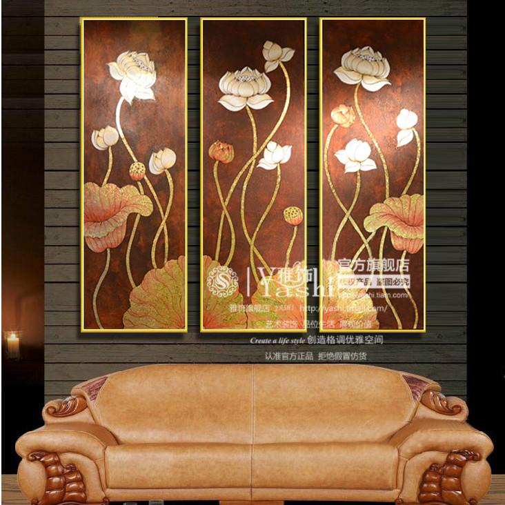 雅饰 高端泰式手绘油画立体有框装裱实木金色画框抽象