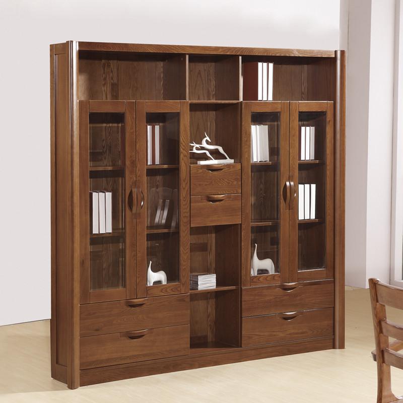z 榆木书柜框架结构成人简约现代 书柜