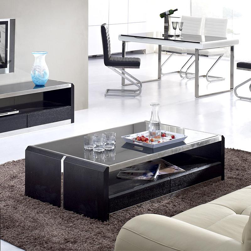 蔚美 钢化玻璃工艺木质工艺车床柳桉木简约现代 cj004茶几