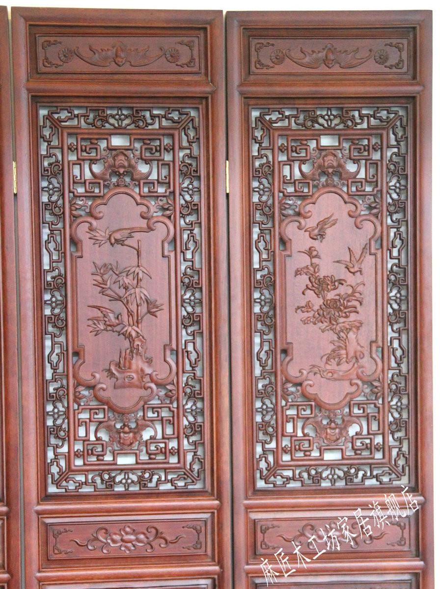 麻匠木工坊 油漆工艺木质工艺喷漆雕刻新古典 屏风