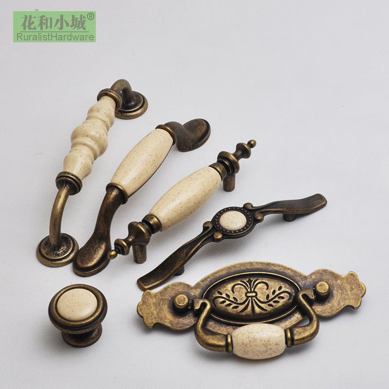 花和小城 锌合金+陶瓷柜门 古铜麦点 陶瓷系列仿古柜门拉手拉手