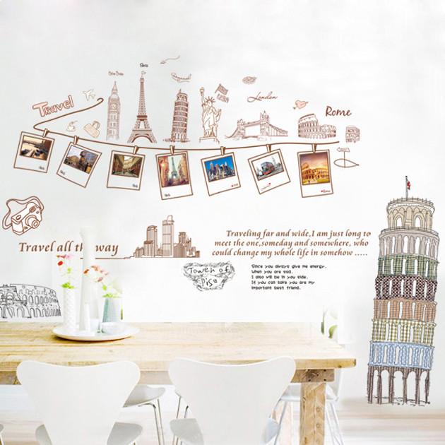 浪漫满屋平面炫彩旅行墙贴卡通动漫墙贴