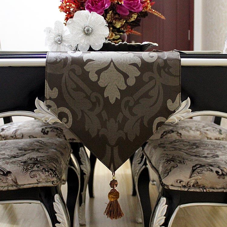 都莱 深咖色布植物花卉欧式 20140305-3桌旗