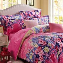 简约现代聚酯纤维天鹅绒植物花卉床单式欧美风 床品件套四件套