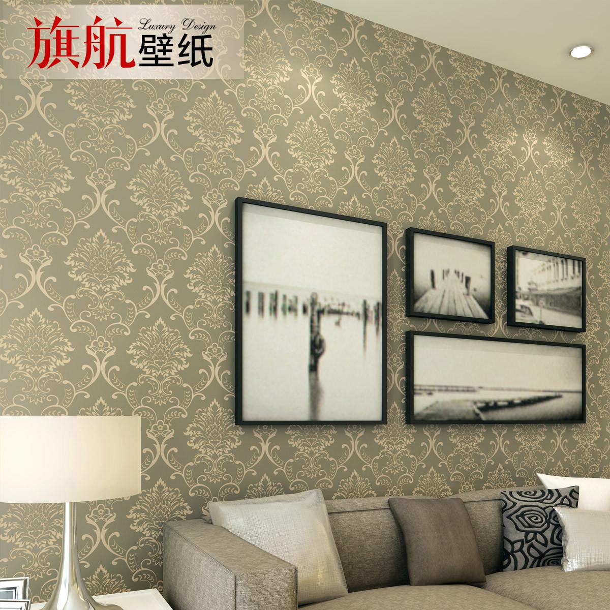 旗航壁纸压花有图案客厅卧室欧式-墙纸