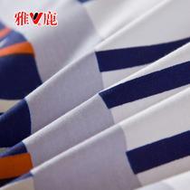 涂料印花简约现代斜纹几何图案床单式田园风 床品件套四件套