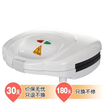 美的 白色上下盘单独加热不粘涂层非悬浮式 电饼铛