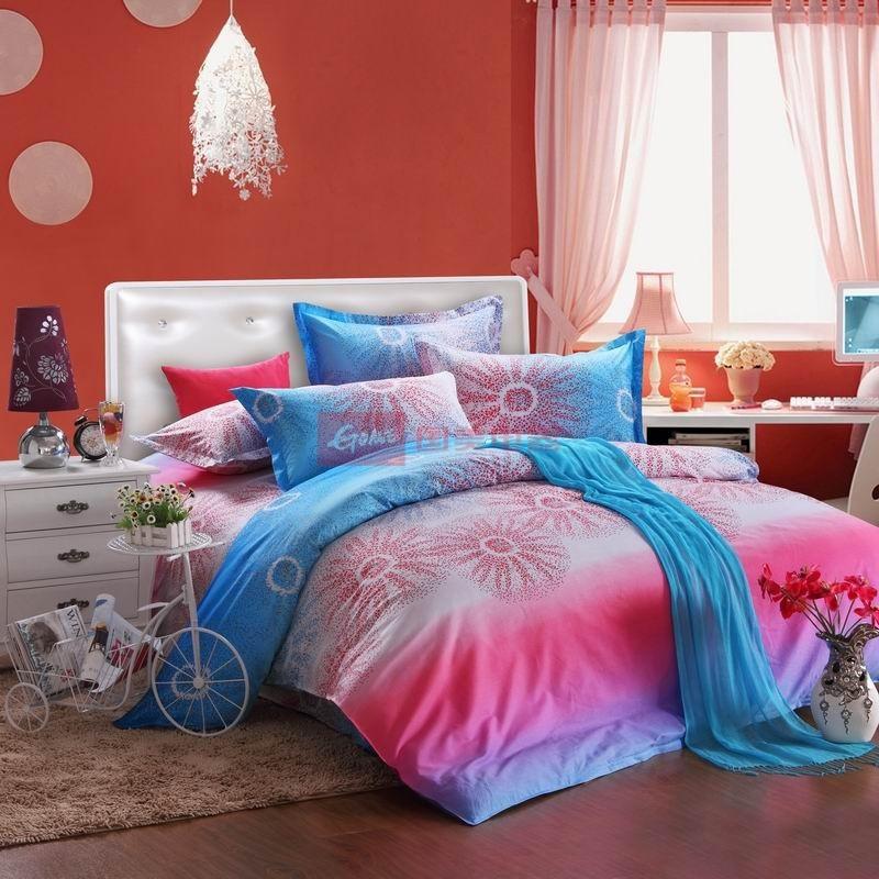 皇家皇朝 全棉所有人群四件套床单式欧洲风格活性印花 炫彩空间床品件套四件套