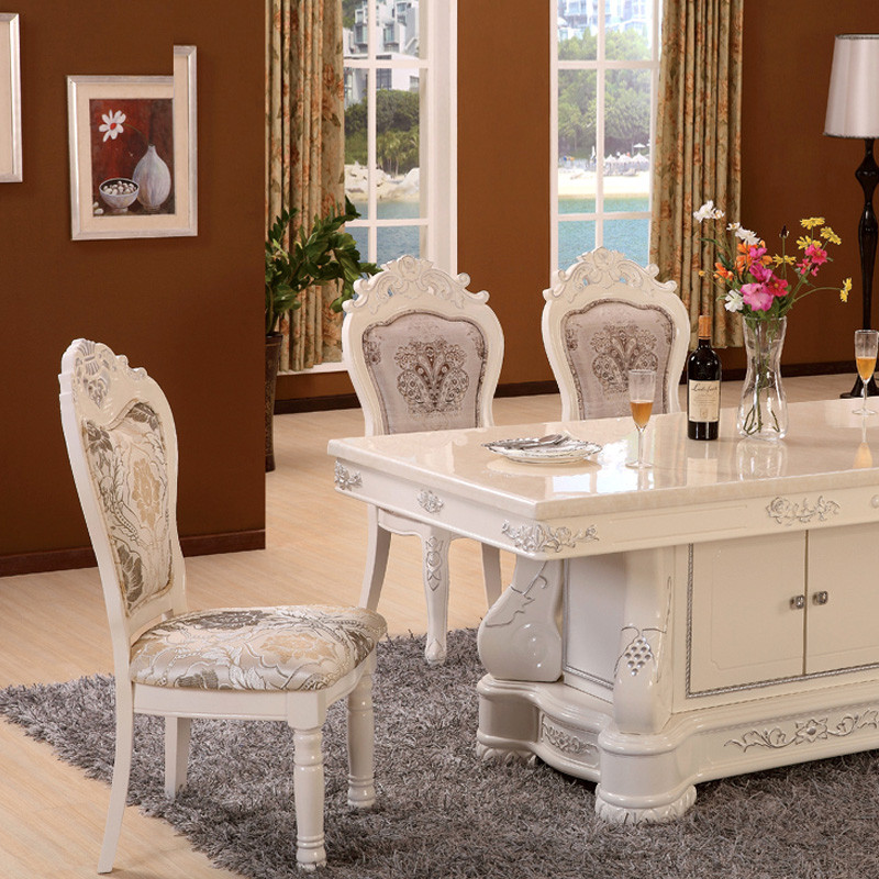 爱尚妮私 人造大理石组装支架结构橡木移动艺术长方形欧式 餐桌