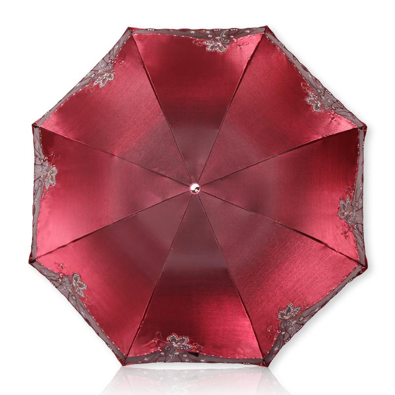 天堂手动变色闪光布花之心语遮阳伞三折伞成人遮阳伞