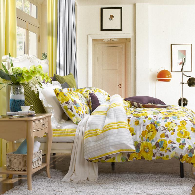 圣之花黄色蓝色斜纹植物花卉床单式韩式风床品件套四件套