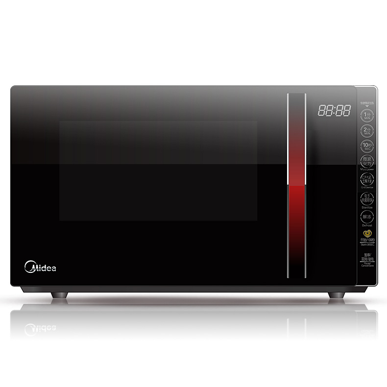 美的 黑色微波炉手拉式平板式全国联保微波烧烤光波电脑式 微波炉