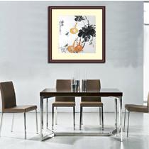 手绘真迹有框实木框配有机玻璃花鸟图案 国画