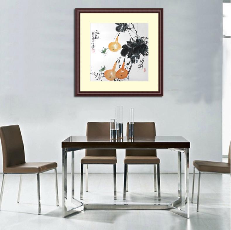 苏雅手绘真迹有框实木框配有机玻璃花鸟图案国画