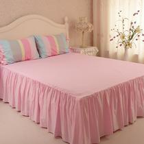 活性印花韩式荷叶边斜纹条纹床罩式公主风 床品件套四件套