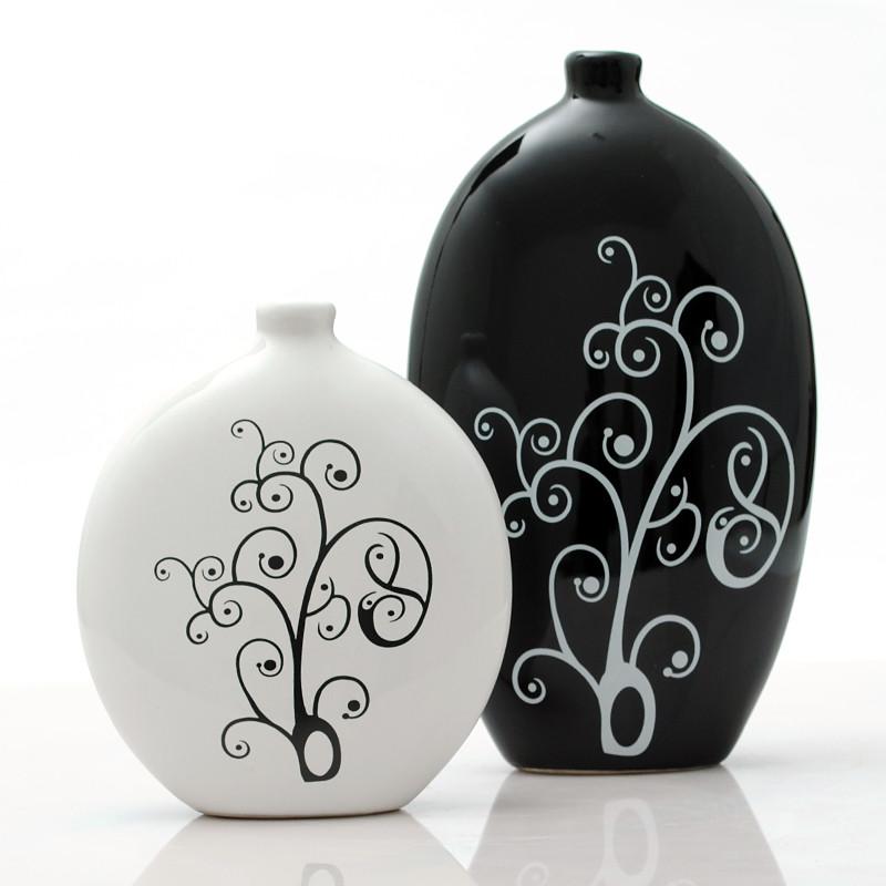 鼎众陶瓷 大黑小白一对陶瓷简约现代 摆件